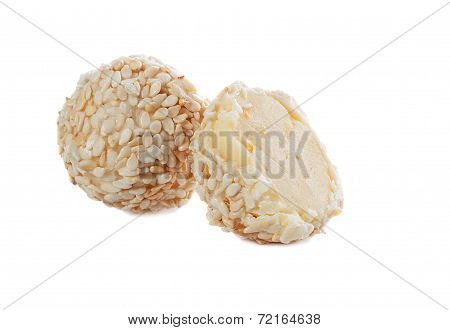 Creamy sweet with sesame seeds, isolated on white