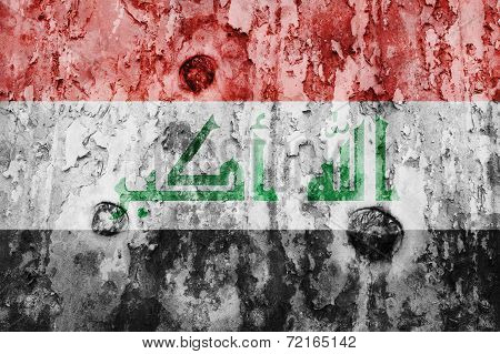 Iraq Flag On A Weathered Grunge Background