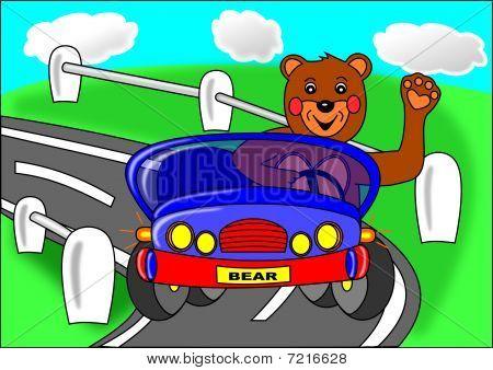 Bear and blue car