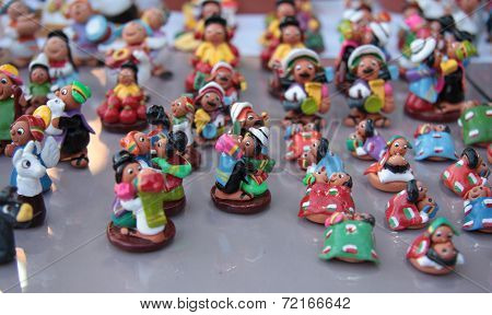Miniature figures of lovers in clothes of Bolivia