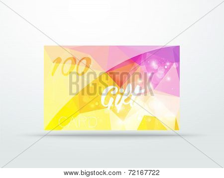 Gift greeting card yellow lila glitter with shine abstract triangle desing vector illustration