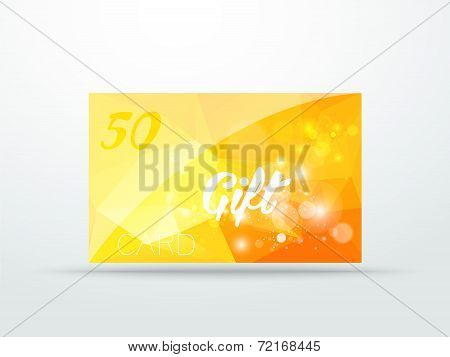 Gift greeting card yellow glitter with shine abstract triangle desing vector illustration