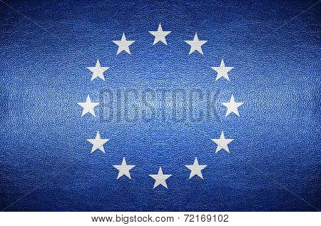 Europa Flag Concept On Leather For Background