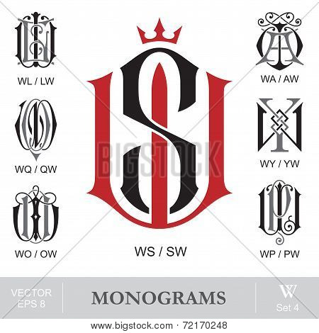Vintage Monograms WS WL WA WQ WY WO WP can also be SW LW AW QW YW OW PW