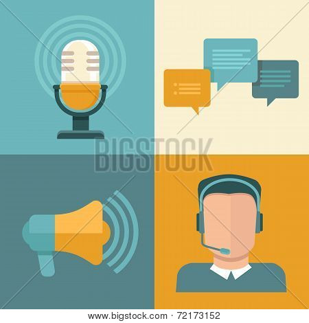 Vector Podcast Concepts In Flat Style