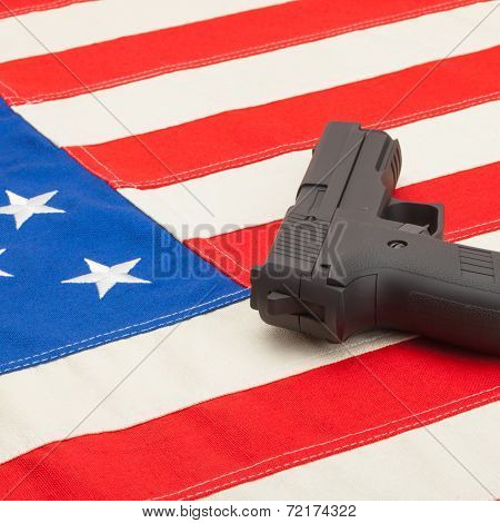 Handgun Over Usa Flag - Studio Shoot