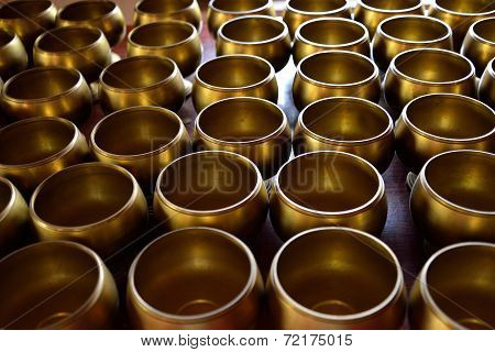 Monk's Alms Bowl In Temple With Put The Coins By Donors