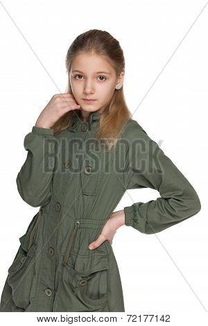 Pensive Preteen Girl In The Jacket