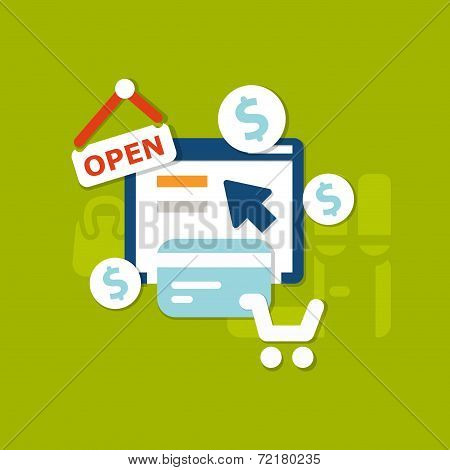 Flat Online Payment Background