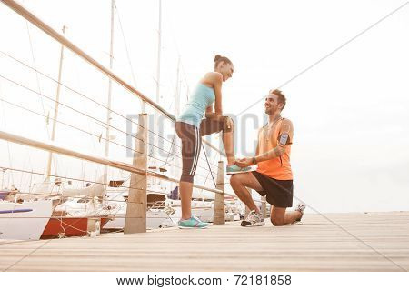 Young diverse couple enjoying a morning run