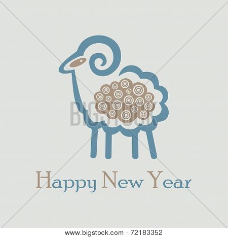 Decorative Christmas Sheep With Curly Hair On A Background For A Card