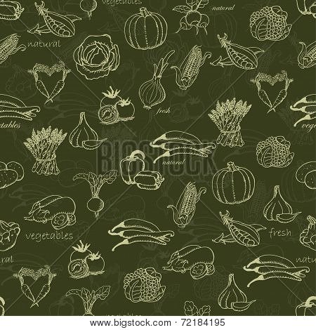 Kitchen Seamless Pattern With A Variety Of Vegetables On A Dark Green Background. Vector Illustratio