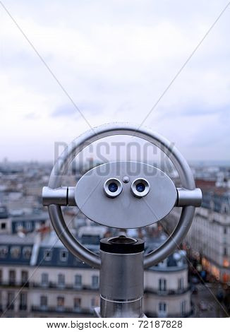Binocular on top of building