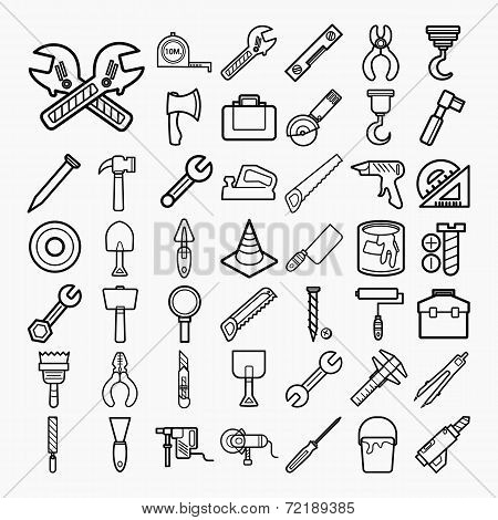 Tools And Equipment Icons Set On White Background