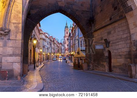 entrance to Hradcany old town at night, Prague