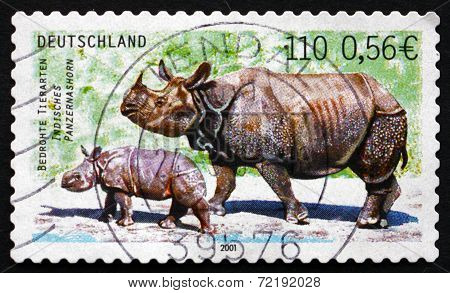 Postage Stamp Germany 2001 Indian Rhinoceros