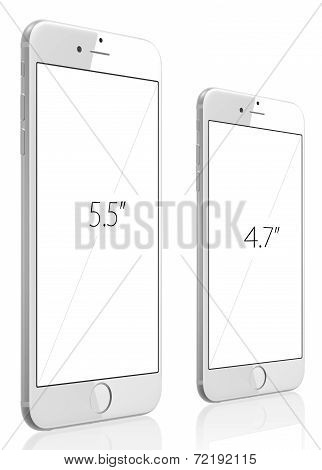 New Silver Smartphone With Blank Screen On White Background