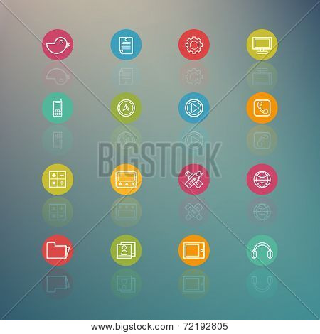 Media And Mobile Interface Circle Series On  Retina Background - Eps.10