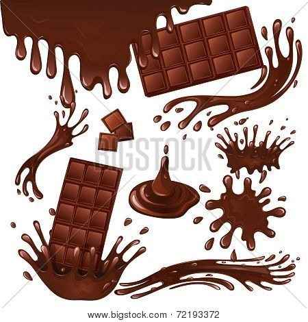 Milk chocolate bar and splashes