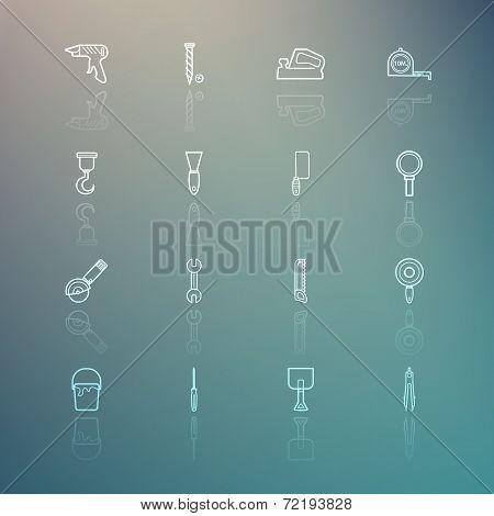 Tools Icons On Retina Background Set.3