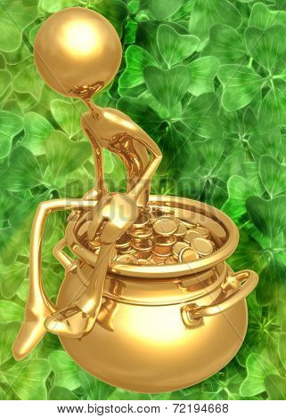 3D Pot Of Gold St Patrick's Day Concept