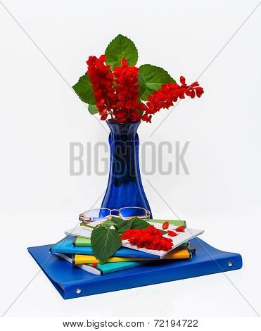 Composition with a vase of red flowers