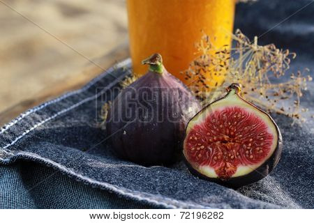 figs on a denim background