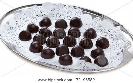 Tray of delicious chocolate sweets, close-up