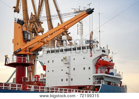 Big Industrial Cargo Ship Loading With Cranes