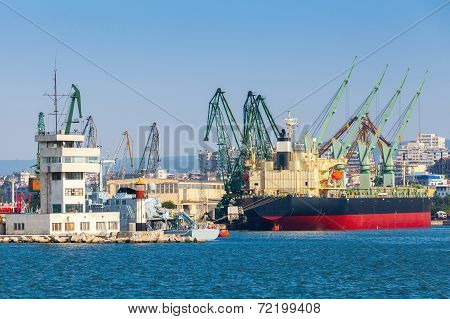 Big Industrial Cargo Ship Is Loading In Port Of Varna, Bulgaria