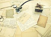 pic of nostalgic  - old letters vintage postcards and antique feather pen - JPG