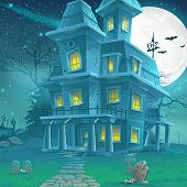 image of moonlit  - Illustration of a mysterious haunted house on a moonlit night - JPG