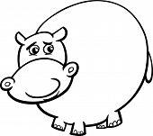 stock photo of hippopotamus  - Black and White Cartoon Illustration of Funny Hippo or Hippopotamus Wild Animal for Coloring Book - JPG