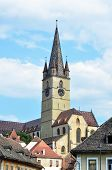 stock photo of evangelism  - sibiu city romania Parochial Evangelical Church landmark architecture - JPG