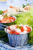 stock photo of cooked blue crab  - Crab meat in silver pot with green salade - JPG