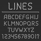 pic of glyphs  - Retro line alphabet and numbers - JPG