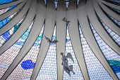 pic of brasilia  - View of the stained glass roof inside the Brasilia cathedral