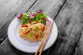 stock photo of glass noodles  - Chinese noodles with chicken chilli and fresh salad  - JPG