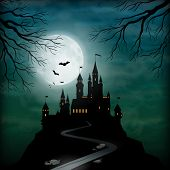 stock photo of moonlight  - Fantasy vector castle silhouette on the hill against moonlight sky with soft clouds texture - JPG