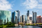 foto of driving  - West Wacker Drive Skyline in Chicago as seen from the city river - JPG