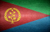 pic of eritrea  - closeup Screen Eritrea flag concept on leather for background - JPG