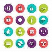 foto of hazardous  - Vector Web Icons Set in Flat Design with Long Shadows on circle buttons with lock unlock key first aid kit shield umbrella puzzle user calculator team credit card disk hazard radioactivity signs - JPG
