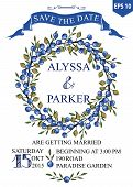 Постер, плакат: Wedding save date card with Watercolor Blueberries wreath