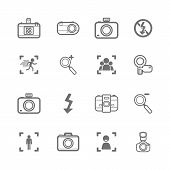 foto of megapixel  - mono Camera icons and menu Camera icons on White paper set 2 - JPG