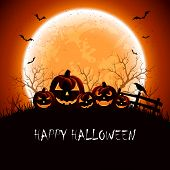 picture of full_moon  - Halloween night background with full Moon and pumpkins illustration - JPG