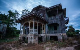 pic of scary haunted  - scary building abandoned old house on twilight - JPG