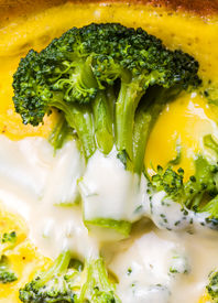 stock photo of cruciferous  - Photo of omelet with cheese and broccoli - JPG