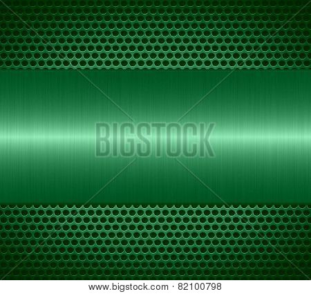 Mint metallic texture with holes metal plate background