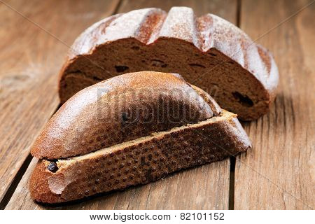 Pieces Of Rye Bread Isolated On A Rural Table