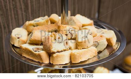 Catering - Served Plate With Biscotti Almond Biscuits